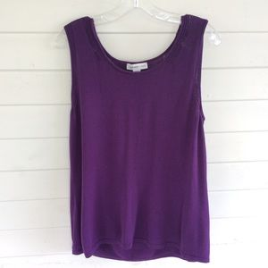 Coldwater Creek Purple Scoop Neck Sweater Shell